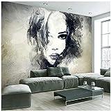 Fototapete Tapete 3D Schöne graue Mädchen TV Hintergrund Fototapeten Wohnzimmer Dekor -300cm (B) x 200cm (H) (9'8 '' x 6'5 '') ft
