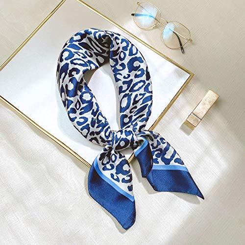 Bufandas Bufanda Estampado Leopardo Pequeña Bufanda Cuadrada Moda Cara Forjada Pequeña Bufanda de Seda Decoración del Lugar de Trabajo Bufanda Pequeña Mujer Leopardo 3 Azul