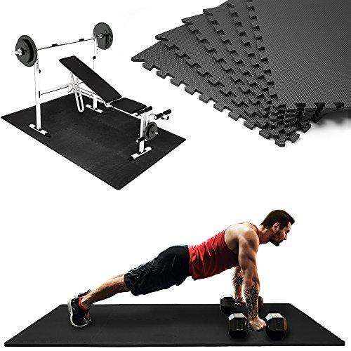 Deuba Tappetino Fitness ad Incastro Tappeto Puzzle 189x126cm 2,38m² Spessore 12 mm Termoisolante Multifunzionale Nero