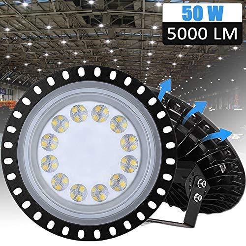 LED Industrielampe UFO, LTPAG 50W LED Hallenleuchte Industrial Hallenbeleuchtung Werkstattbeleuchtung, Abstrahlwinkel 120°, Deutsches optisches PC Objektiv [Energieklasse A++]