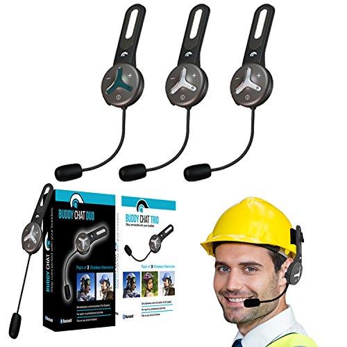 BuddyChat Trio - 3er Set Bluetooth 3.0 Helm Headset Gegensprechanlage Intercom 1km Reichweite Freisprechanlage Kommunikationssystem Sport Freizeit Smartphone Handy Freisprecheinrichtung Fahrrad Bike