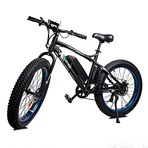 ECOTRIC Powerful Electric Bicycle 26' X 4' Fat Tire Bike 500W 36V 13AH Battery EBike Moped Beach Mountain Snow Ebike Throttle & Pedal Assist - 90% Pre-Assembled (Blue)