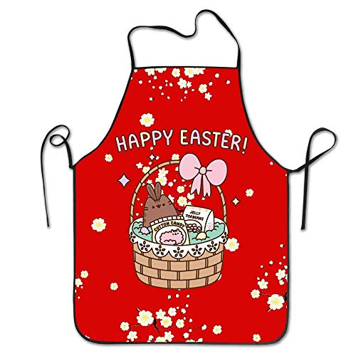 Newshowlee Customized Apron for Her/Winter/Halloween/Thanksgiving Apron for Cooking Baking 20.5×28.3 in Pusheen The Cat Happy Easter Cartoon Candy
