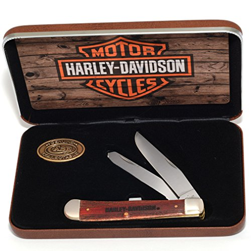 CASE XX Cinnamon-Washed Natural Bone Trapper Stainless Pocket Knife Knives for Harley-Davidson