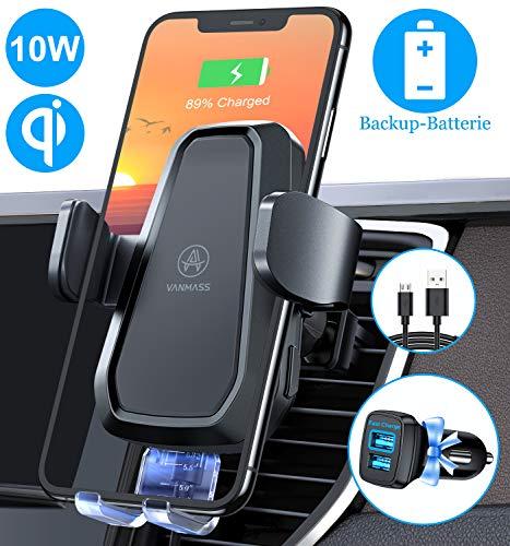 VANMASS Automatisch Wireless Charger Auto Handyhalterung Lüftung Elektronisch Motor Betrieb 10W Fast Charging Extra Stabil Qi Ladestation Auto für iPhone 11/X/8 Galaxy S20/S10/Note10/S9 Alle Qi Geräte