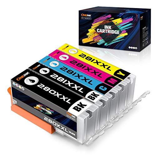 ONEINK Compatible Ink Cartridge Replacement for Canon 280 281 XXL PGI-280XXL CLI-281XXL PGI280 CLI281 for Printer PIXMA TS6120 TS6220 TS702 TR7520 TS8120 TS8220, 5 Packs(1PGBK, 1B, 1C, 1M, 1Y)…