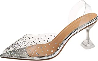 Women Pointed Toe Slipper, Ladies Crystal Transparent Peep Toe Sandals High Heels Shoes