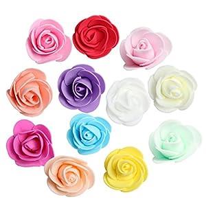 Prettyia 100pcs Cabeza de Flor de Rosa de Espuma Decoración Nupcial de Ramo de Novia – Mezclado