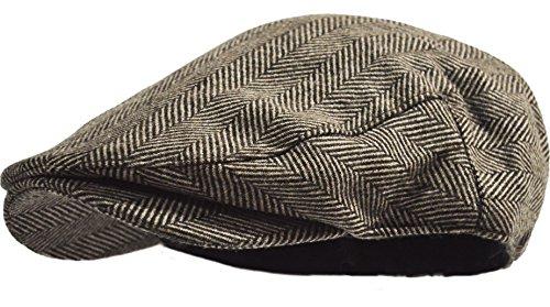Men's Herringbone Wool Tweed Newsboy Ivy Cabbie Driving Hat (Brown Herringbone)