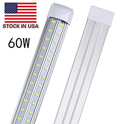 4ft LED Shop Light Fixture,28w 3000 Lumens 5700K Daylight White, High Output Tube Light,Double Sided V Shape T8 Integrated 4 Foot Led Bulbs for Cooler,Garage,Warehouse,Clear Cover,4-Pack