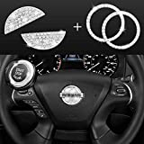JINGSEN Bling Bling Car Steering Wheel Diamond Crystal Decal Decoration Cover Sticker Fit For NISSAN,DIY Bling Car Steering Wheel Emblem Accessories for NISSAN maxima,altima,sentra,pathfinder,kicks