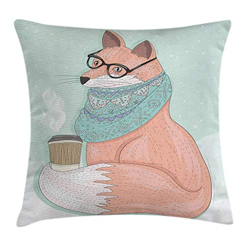 QUEMIN Animal Throw Pillow Cojín, Hipster Fox con anteojos y Bufanda Beber café Hippie Ilustración, Cuadrado Decorativo 18'X 18', Coral Mint