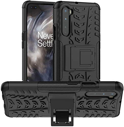 Fitsmart Shockproof Armor Heavy Duty Dazzle Case with Stand Double Protective Back Cover for OnePlus Nord 5G - Black