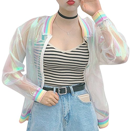RARITYUS Women Girls Hologram Rainbow Bomber Jacket Iridescent Transparent Summer Sun-Proof Coat