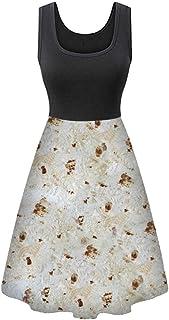 WYTong Dress For Women Burritos Pancake Stitching Dress Printing Formal Swing Dress Wine Dress