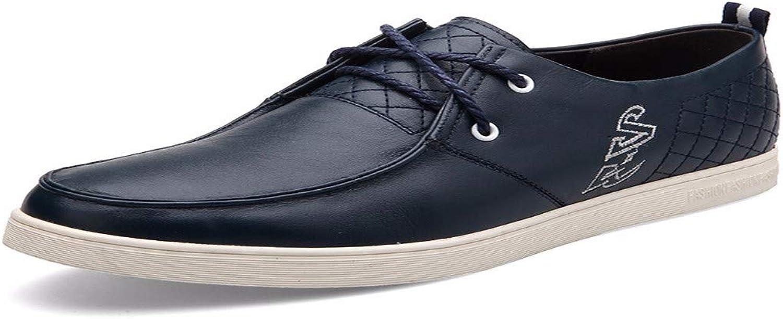 KMJBS Herrenschuhe an Männern Mittleren Alters Ist Leder Schuhe Binden Blau 44  | Clever und praktisch