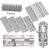 cococity 6 bisagras de acero inoxidable de 75 mm + 2 piezas de acero inoxidable para puerta corredera de 73 mm/66 mm con tornillos, para baño, ventanas, muebles, puerta de mascota