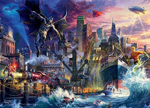 Ceaco Thomas Kinkade DC Collection JL Showdown Gotham Pier Jigsaw Puzzle, 1000 Pieces