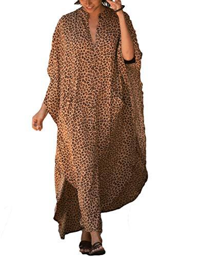 Bsubseach Copricostume da Bagno Elegante con Stampa Leopardata da Donna Abito Camicia in Caftano da Spiaggia