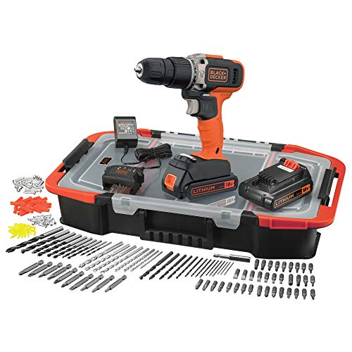 Black+Decker BCD003BAST-QW Cordless Impact Drill - 160 Accessories - Supplied in Organiser 18V