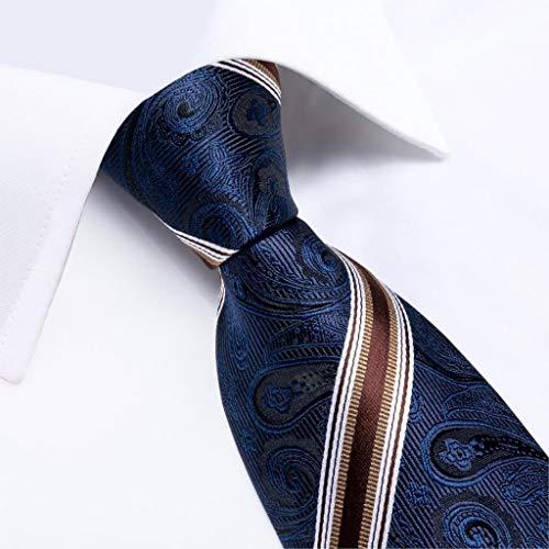 YTGUEVKDH Men Tie Navy Blue Red Wine Striped Silk Wedding Tie Compatible with Men Cufflink Gift Tie Set Design Party Business Fashion