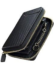 PEYNE 小銭入れ メンズ ラウンドファスナー コインケース - 本革 小さい ミニ キーケース 鍵 ボックス型 財布(表革: カーボン/型押しカーフ ブラック,内側:型押しカーフ ブラック/レッド)ファスナー カードケース