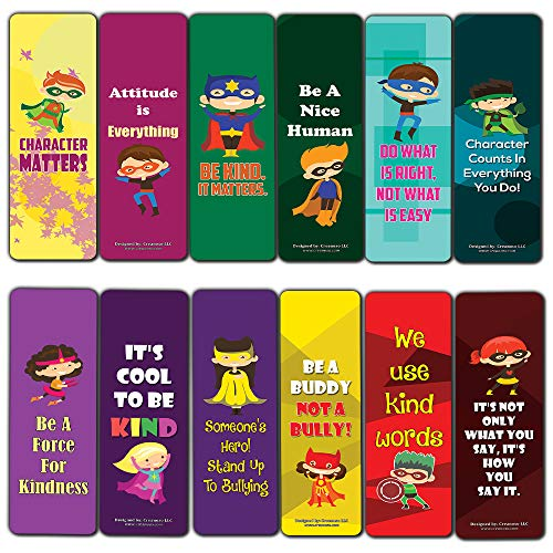 Character Matters Superhero Bookmarks for Kids (12-Pack) – Inspirational Sayings Reading Bookmarker Cards - Stocking Stuffers for Children Boys & Girls – Teacher School Classroom Rewards Incentive