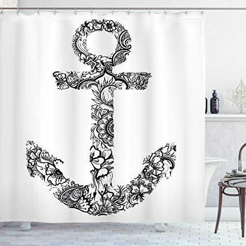 ABAKUHAUS Ancla Cortina de Baño, Ancla de Forma de la Flor, Material Resistente al Agua Durable Estampa Digital, 175 x 180 cm, Blanco Negro