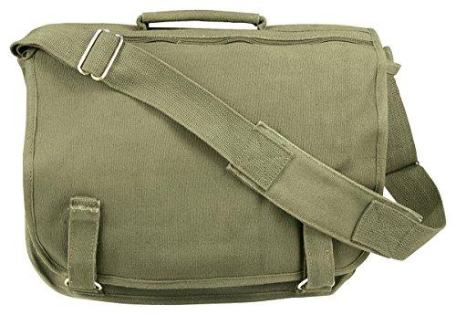 Rothco Canvas European School Bag - Olive Drab, Olive Drab Size