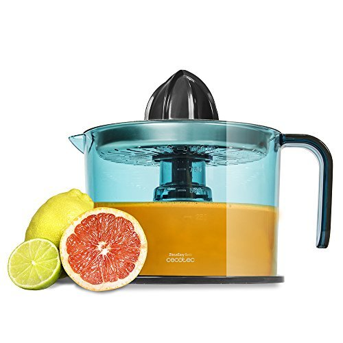 Cecotec ZitrusEasy Inox - Exprimidor eléctrico para naranjas y cítricos de 40 W con filtro de acero inoxidable, tambor de 1 litro BPA Free, doble sentido de giro, doble cono y cubierta antipolvo