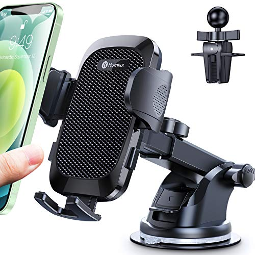 [2021 Upgraded 4 in 1 ] Car Phone Mount Humixx, [Super Suction & Durable] Phone Holder for Car Dashboard Air Vent Windshield, 360 ° Rotatable Long Arm Cell Phone Holder for All Mobile Phones