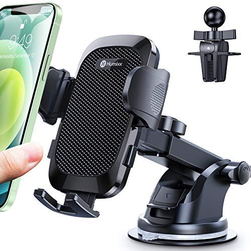 Humixx Soporte de teléfono móvil para coche con ventosa, botón de actualización dual para la ventilación del coche, universal, giratorio 360°, para iPhone, Samsung, LG, Huawei