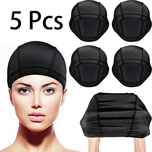 Dome Caps Stretchable Wigs Cap Spandex Dome Style Wig Caps For Men Women (5 Pack, Black Nylon Wig Caps)