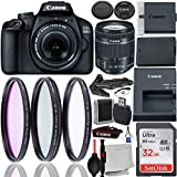 Canon EOS 4000D DSLR Camera with 18-55mm f/4-5.6 IS STM Lens & Accessory Bundle – Includes: SanDisk Ultra 32GB SDHC Memory Card + Spare Long-Life Battery (LP-E10) + 3PC Multi-Coated Filter Set + MORE