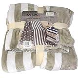 Viva Living Mikrofaserdecke 150x200cm Motiv Streifen Kuscheldecke Wohndecke Microfaser Decke, Farbe:beige