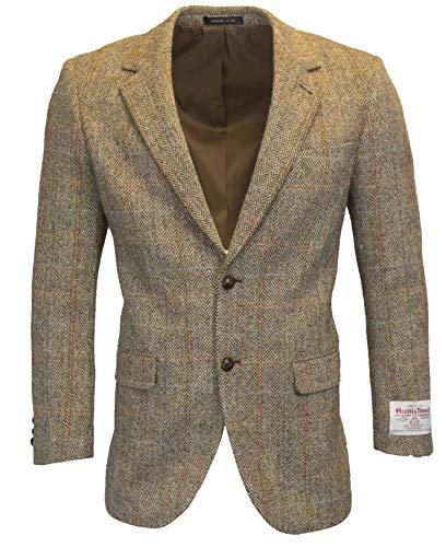 Walker & Hawkes - Herren Country-Blazer - Klassisch Schottische Jacke aus Harris-Tweed - Fischgrätmuster - Overcheck-Tartanmuster - Sandweiß - L