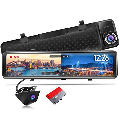 PORMIDO Mirror Dash Cam Backup Camera 12'Large Full Touch Split Screen Front and Rear View Camera...