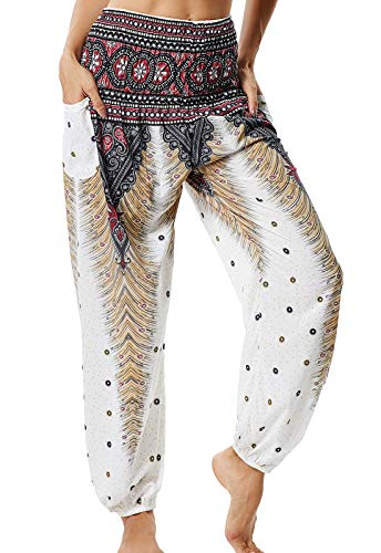 Pantalones de Yoga Mujer Harem Boho del Lazo del Pavo Real Flaral Funky #2 Flor Impresa-A