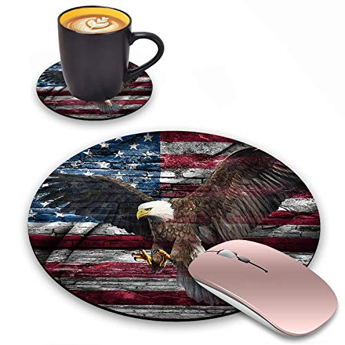 Log Zog Round Mouse Pad with Coasters Set, US Military Canvas Wall Art Decor American Flag Bald Eagle Design Mousepad Non-Slip Rubber Gaming Mouse Pad for Computers Laptop