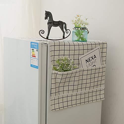 DecentGadget - Copertura antipolvere per frigo a sportello singolo, per lavatrice, coperchio antipolvere, Cotone, Copertina bianca., 52*135cm