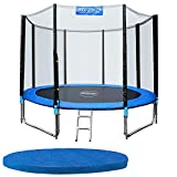 Monzana trampolin cama elástica ø305cm set completo incl. Red de seguridad y cubierta juego exterior niños adultos deporte