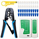 WerkWeit RJ45 Crimping Tool Kit All-in-One Crimp, Cut and Strip Tool for Cat5 Cat5e Connectors Ethernet Crimping Tool Kit with Mini Wire Stripper Professional Network Tester (9V Battery Not Included)