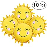 Sunshine Sun Smile Face Shaped Foil Mylar Balloons Helium Balloon Happy Birthday Sunny Summer Day Theme Party Supplies Wedding Decorations, 10pcs