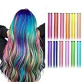 24 extensiones de colores con clip para niñas, extensiones de pelo largo arco iris, multicolor para fiestas, extensiones de pelo sintético para niños de 22 pulgadas