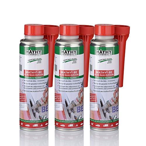 MATHY-BE Benzin System Reiniger, 3 x 250 ml - Benzin Additiv - TÜV geprüft - Brennraum Reiniger - Benzin Zusatz - Einfache Anwendung über den Tank - Kraftstoffadditiv