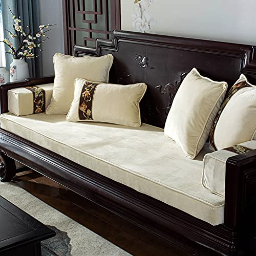 MOTT Cojín de lujo de terciopelo para banco de jardín, 100/120/150/180 cm de largo, acolchado de espuma gruesa, lavable