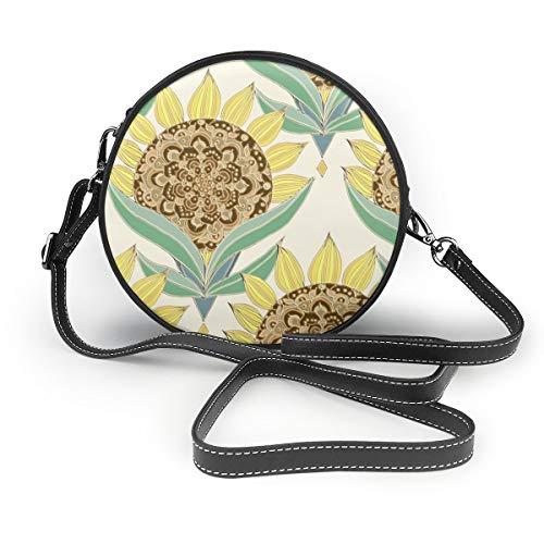 Handtasche/Clutch, Art-Deco, Sonnenblumen-Design, rund