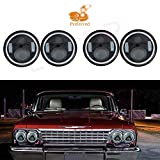 LQQDP 4pcs 5.75' Inch Round Black Housing Clear Lens LED Halo Angel Eye Projector Headlights Assembly H4/9003/HB2 Conversion Kit Amber Turn Signal/Parking White High/Low Beam DRL Daytime Running Light