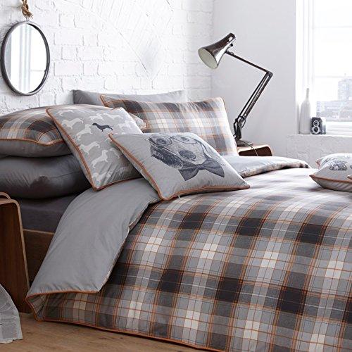 Just Contempo gestreift Baumwolle Bettbezug Set, Baumwolle, Alnwick Check Amber Orange, King Size