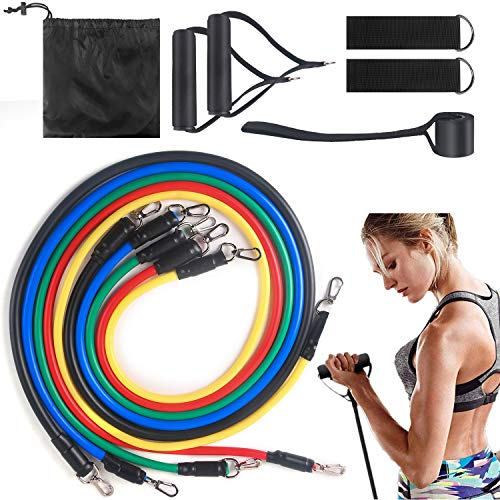LARMLISS Exercise Bands Set11pcs Resistancet Elastic Bands for Indoor Sports Include Door AnchorFoam HandleMetal Foot Ring amp Carrying Bag for Resistance Training Home Workouts